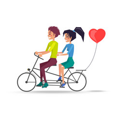 couple in love riding on two-seat bicycle vector image