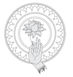 Elegant hand drawn Buddha hand with flower vector image