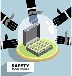 hands are drawn to money Protection against vector image vector image