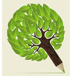 Leaves concept pencil tree vector image vector image