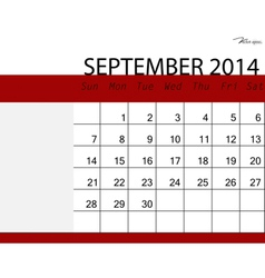 Simple 2014 calendar September vector image