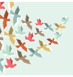Sky background with stylized color flying birds vector image