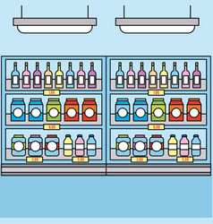 supermarket shelves with groceries drinks for sale vector image