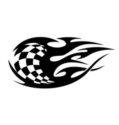 Black and white checkered flag with speed trails vector image