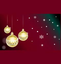 christmas card with golden christmas balls vector image