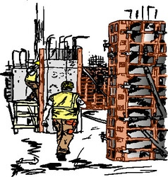 concreting works vector image