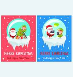 merry christmas elf on ladder vector image vector image