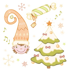 Set of Christmas dwarf in the bell Christmas tree vector image vector image