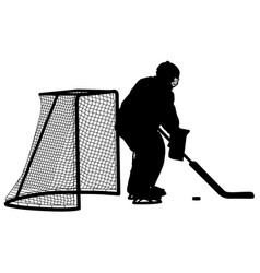 silhouette of hockey goalkeeper isolated on white vector image vector image