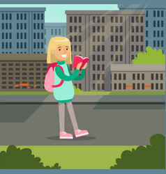 cute blonde girl with backpack walking and reading vector image vector image