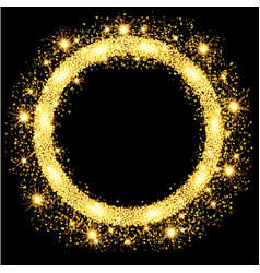 gold glow glitter circle frame with stars vector image vector image