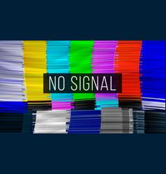 test color glitch screen digilal no signal vector image