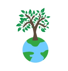 Tree on earth ecology concept vector image