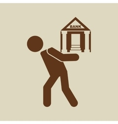 crisis economy bank concept icon design vector image