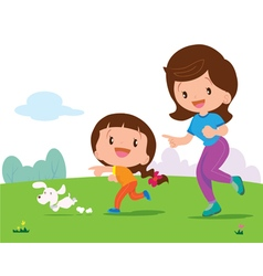 cute girl and mom Jogging vector image vector image
