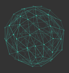 polygonal 3d globe with connecting dots and lines vector image vector image