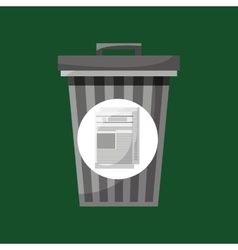 trash can and paper recycling icon vector image vector image