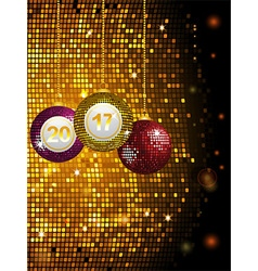 2017 disco baubles over golden tiles vector image