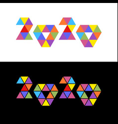 2020 colorful triangles mosaic logo vector image