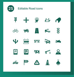 25 road icons vector image