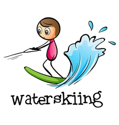 A stickman waterskiing vector