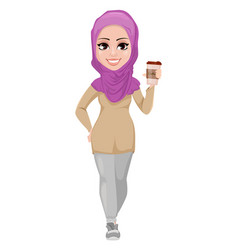 Arabic business woman smiling cartoon character vector