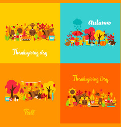 autumn thanksgiving concept set vector image
