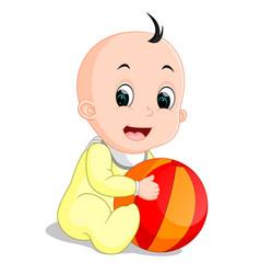 baby boy cartoon holding colorful ball vector image
