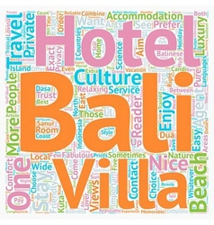 Bali Hotels Or Bali Villas text background vector