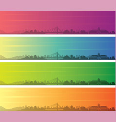 bandung multiple color gradient skyline banner vector image