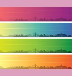 Bandung multiple color gradient skyline banner vector