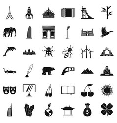 Big world icons set simple style vector