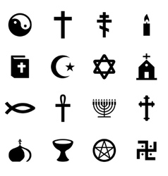 Black religion icon set vector