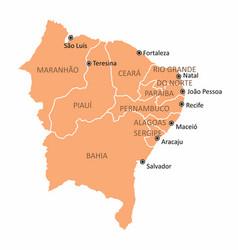 brazil northeast region map vector image