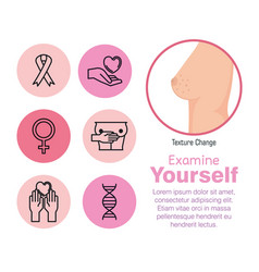 Breast female with cancer set icons vector