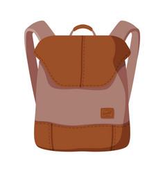 brown backpack for schoolchildren or students vector image