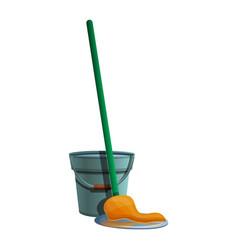 bucket mop icon cartoon style vector image