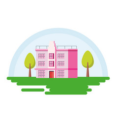 building with trees in the landscape vector image