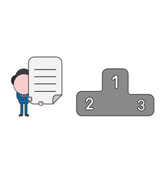Businessman character with winners podium and vector
