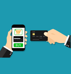 card for online payment from mobile app hand vector image