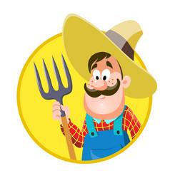 cartoon farmer isolated on vector image