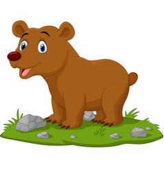 cartoon happy babear in grass vector image