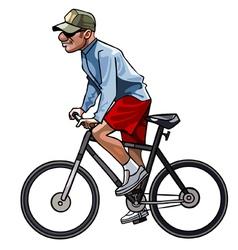 Cartoon man riding a bicycle vector