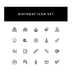 celebration birthday icon set with outline design vector image
