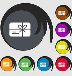 Certificate icon sign Symbols on eight colored vector