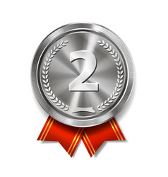 champion silver medal with red ribbon vector image