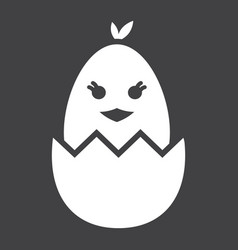Chick hatched from an egg glyph icon easter vector