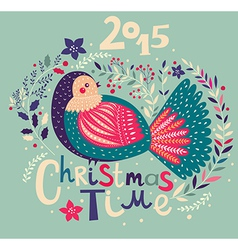 christmas with festive bird vector image