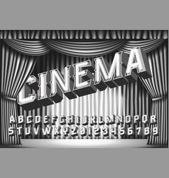 Cinema - retro neon monochrome alphabet vector