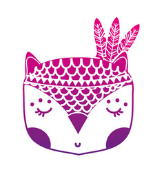 Color silhouette cute owl head animal with vector